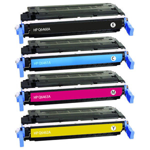 Value Set of 4 Hewlett Packard Q6460A Toners: Black / Cyan / Magenta / Yellow (Compatible Toner Cartridges)