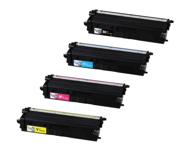 Value Set of 4 Brother TN-433 High Yield Toners: Black / Cyan / Magenta / Yellow (Compatible Toner Cartridges)