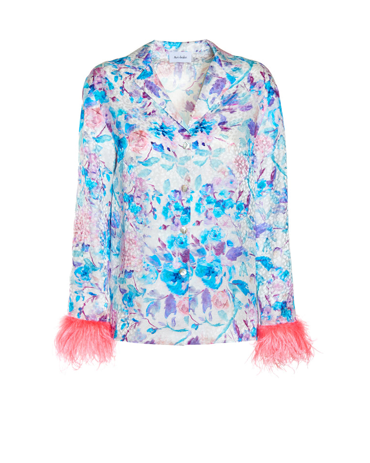 Aretha Shirt - Pastel flowers and Pink feathers
