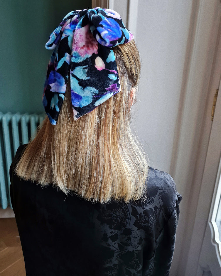 Hair Bow - Velvet multicolor flower print