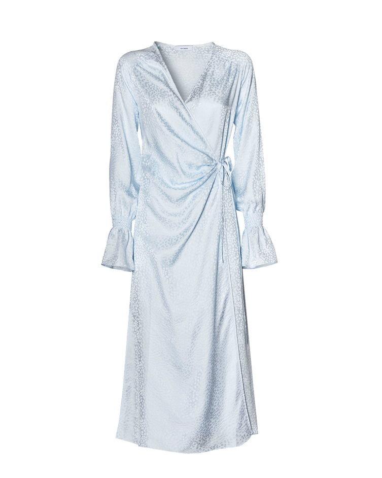 Cordelia dress with flared sleeves - light blue