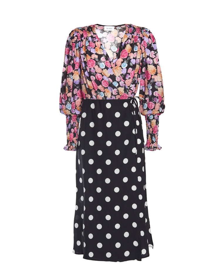 Kate midi dress - flowers and polka dots