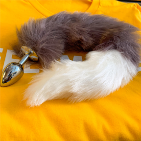 Faux Fox Tail Gray/White