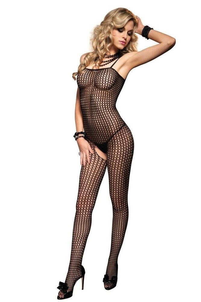 Crochet Net Bodystocking Spaghetti Blk - OS #8300 - Feelmore Adult Gallery