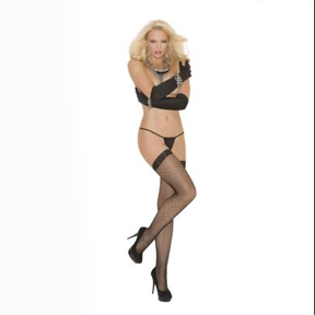 Fishnet Thigh High/Lace - Queen