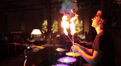 LED Drum with Fire & Water
