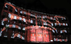 Landmark Projection Mapping for Launch or March In