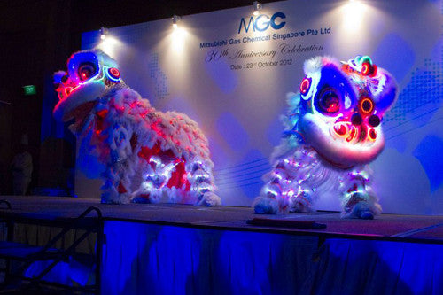 Twin LED Lion Dance With Tron Dancers | Twin LED Lion Dance With Tron Dancers
