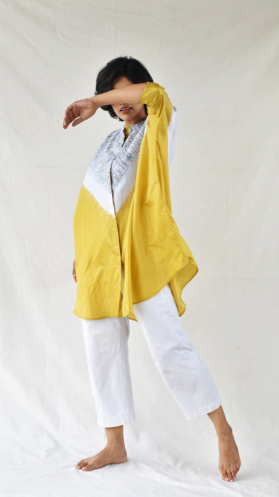 Yellow-grey Silk Shibori Shirt