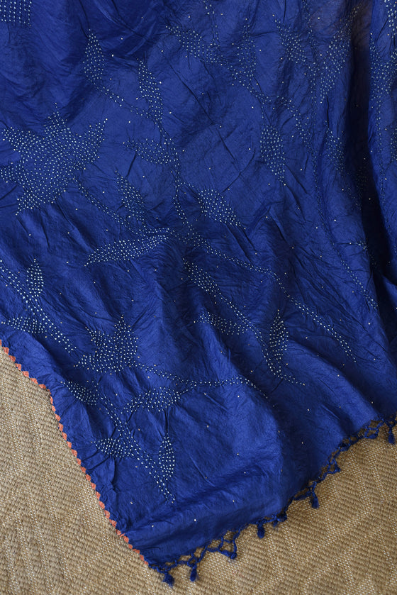 Blue Bandhani on Tussar Saree with Mukaish