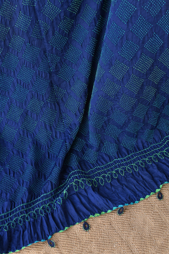 Blue Green Bandhani on Gaji Silk Saree