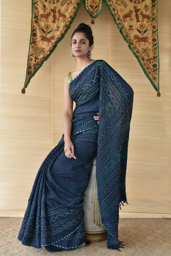 Blue Green Bandhani on Tussar Silk Saree
