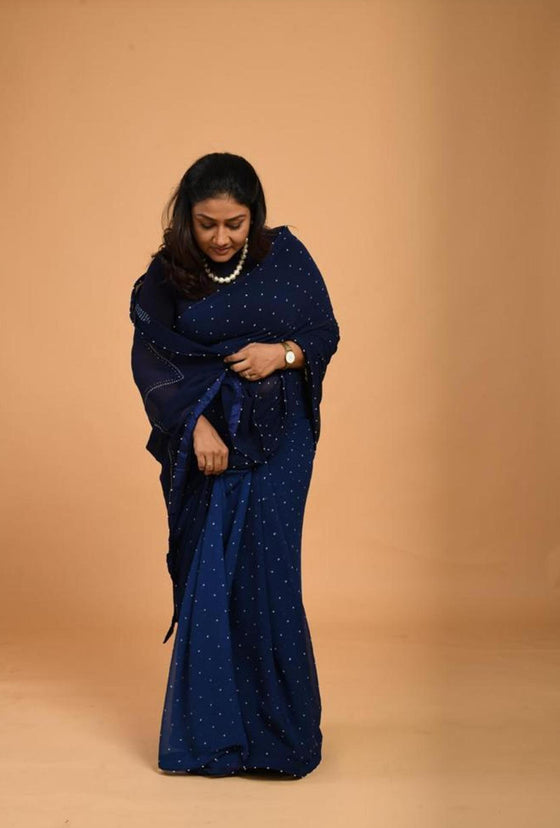 Navy Blue Shaded Bandhani Saree on Pure Chiffon
