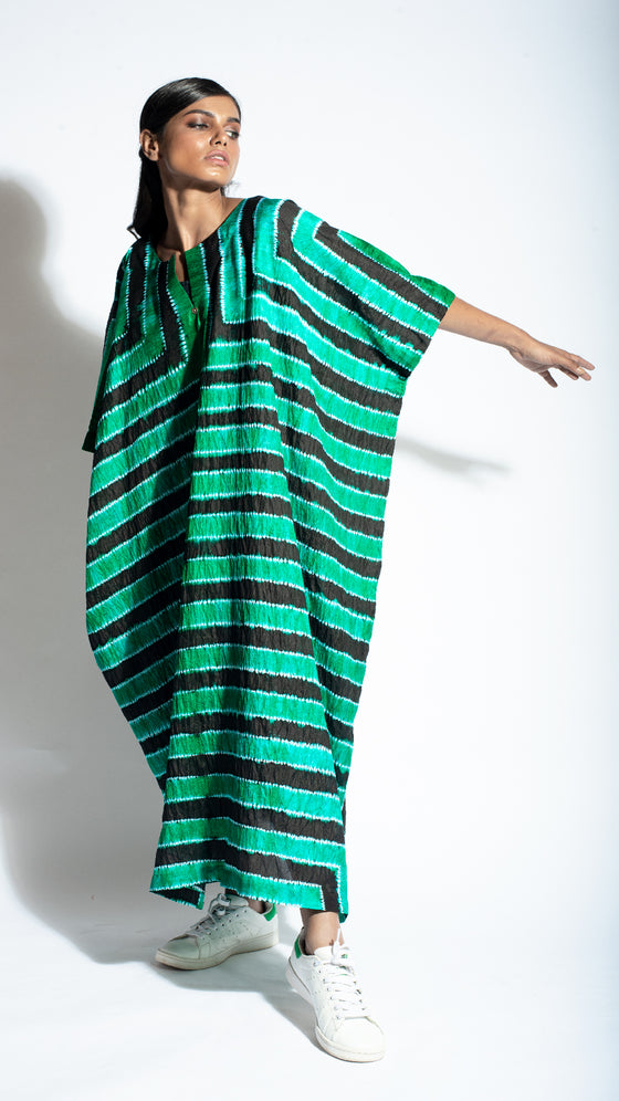 Green Black Striped Shibori Kaftan