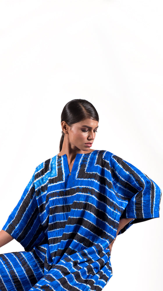 Royal blue black Striped Shibori kaftan