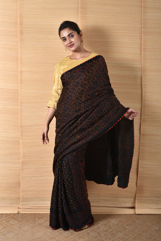 Geometric Pattern Black Bandhani Gaji Silk Saree
