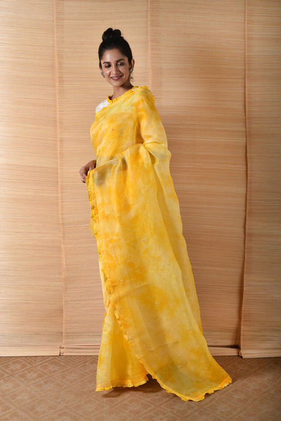 Hand Dyed Organza Saree with Blouse - Yellow