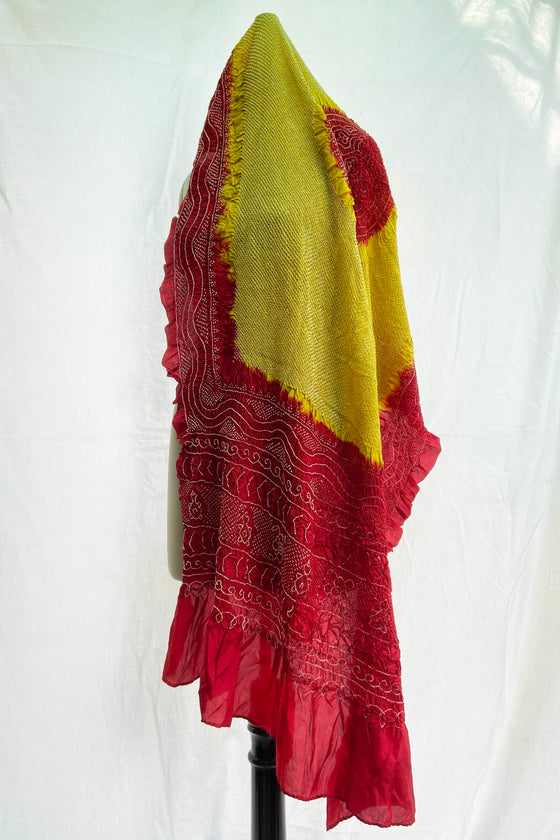 Intricate Dark Red Mustard Bandhani Dupatta on Silk