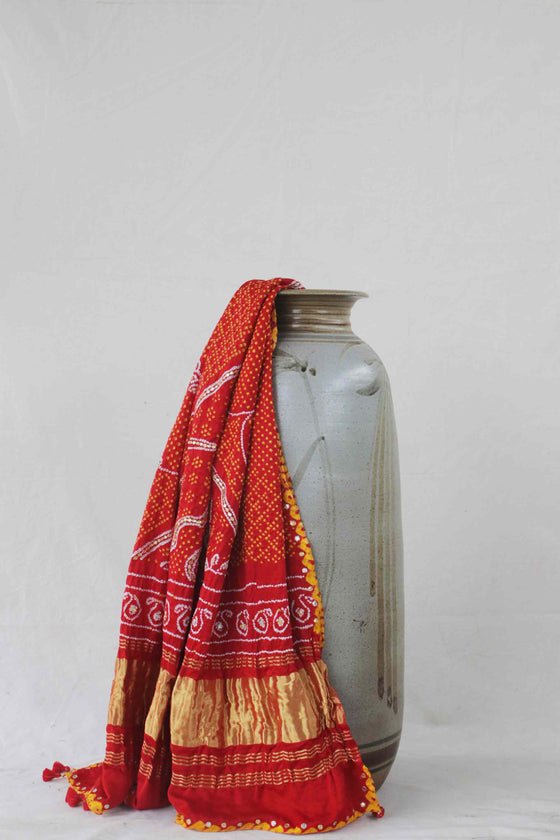 Bandhani on Gaji Silk Dupatta with Gota Patti Work