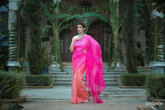 Lakshmi Manchu's Bandhani on Pure Organza Saree