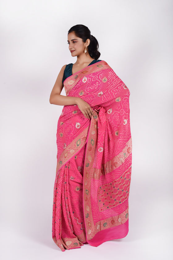 Light Meenakari Banarasi Bandhani Saree in Pink