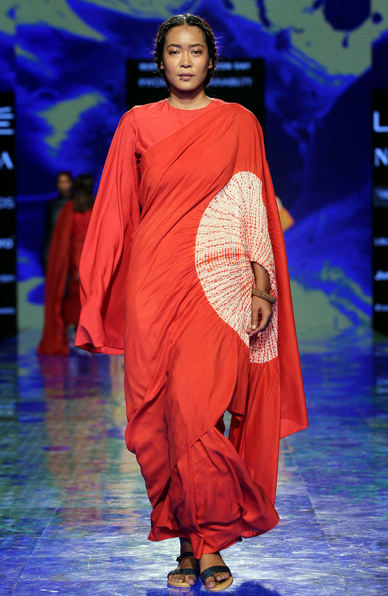 Naturally Dyed Handsfree Saree - Madder Red
