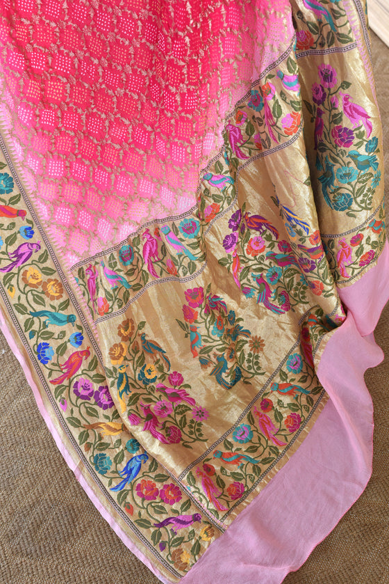Meenakari Gharchola Banarasi Bandhani Saree in Pink and Off White