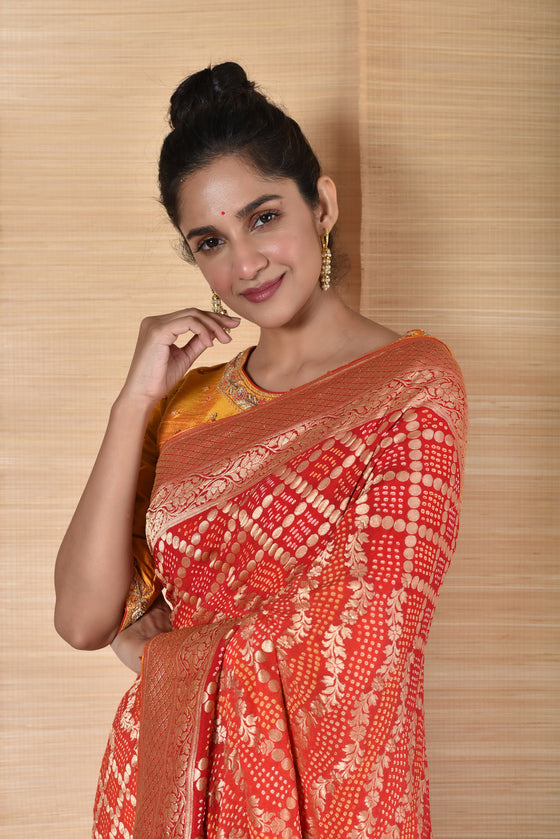 Orangish Red Banarasi Bandhani Saree in Pure Georgette