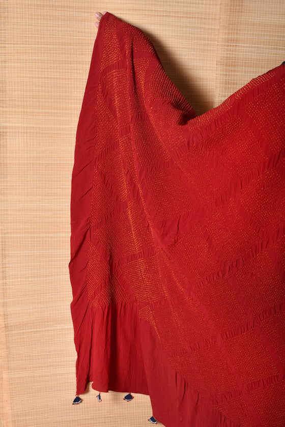 Red Blue Bandhani on Pure Crepe Saree
