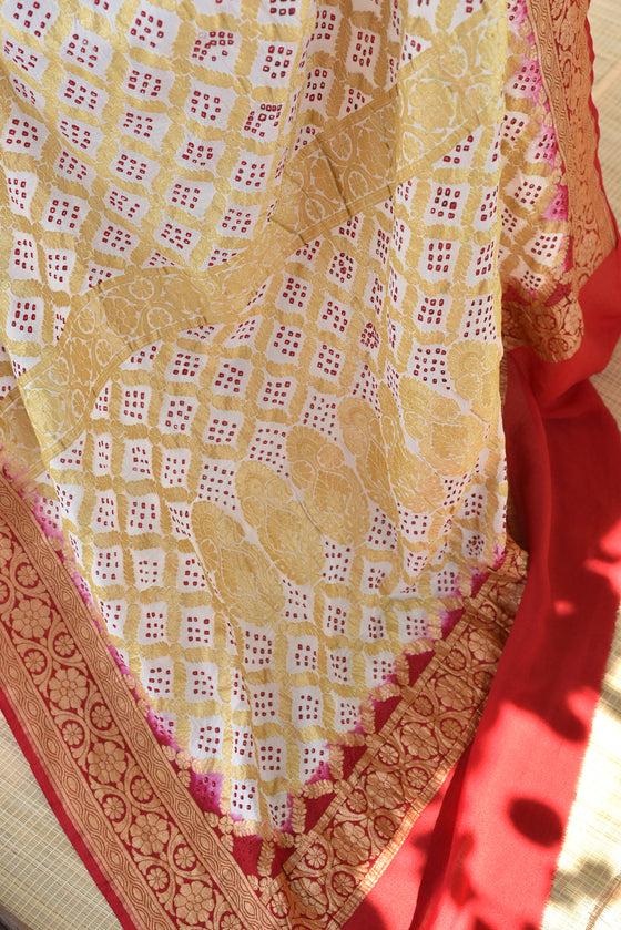 Red and White Banarasi Bandhani Saree