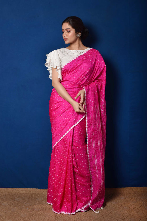 Fuchsia Gaji Silk Bandhani Saree with Mirror Work