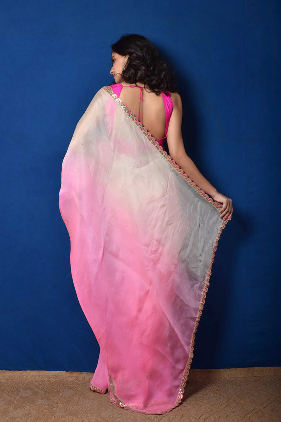 Pink White Shaded Organza Saree