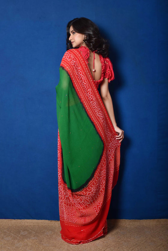 Classic Red and Green Bandhani on Chiffon Saree