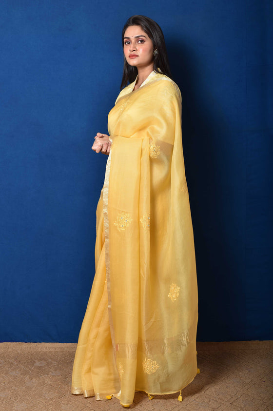 Yellow Organza Thread Embroidered Saree