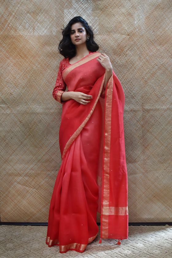 Shaded Organza Zari Border Saree - Red
