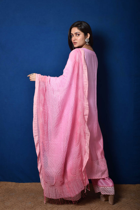 Chanderi Suit Set with Cotton Bandhani Dupatta - Pink