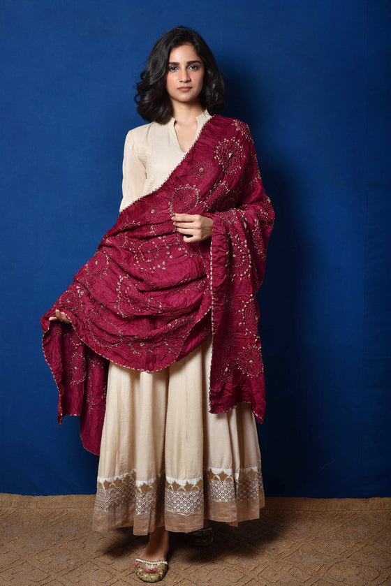 Wine Bandhani on Gaji Silk Dupatta