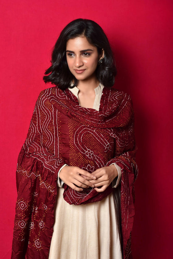 Bandhani Gaji Silk Dupatta in Brownish Maroon