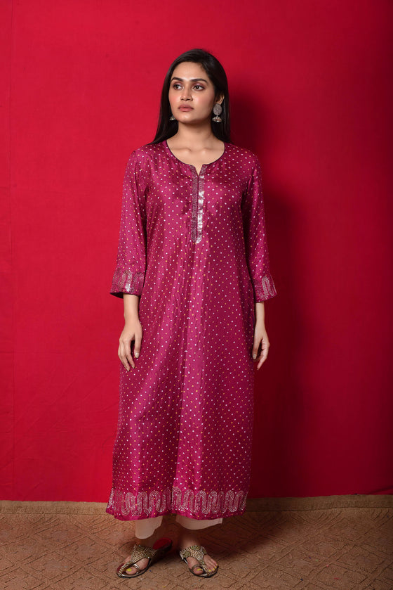 Magenta Bandhani on Silk Kurta with Mirror Work