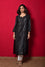 Waves Design Bandhani Pure Silk Kurta in Black
