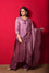 Chanderi Suit Set with Cotton Bandhani Dupatta - Wine
