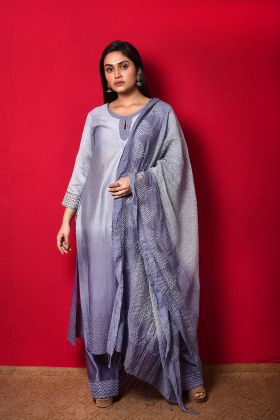 Chanderi Suit Set with Cotton Bandhani Dupatta - Mouve