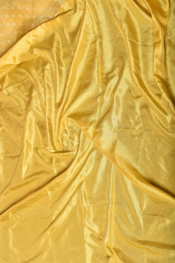 Bandhani on Pure Organza Saree in Pale Yellow