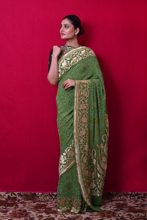 Broad Border Banarasi Bandhani Saree in Mehendi Green