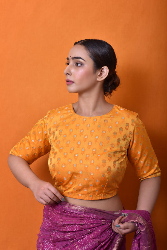 Self woven Banarasi Blouse in Mango Yellow