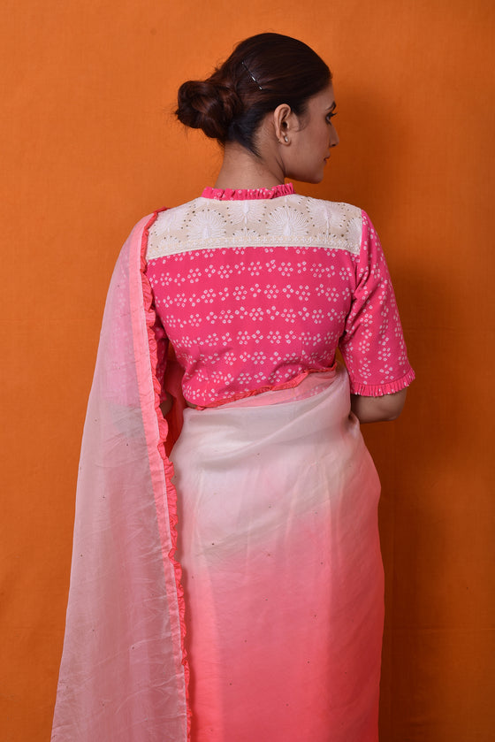 Shaded Organza Saree in Flourescent Pink & White