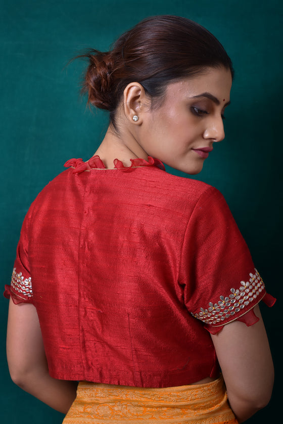 Gota Patti Embroidered Yoke Blouse in Deep Red