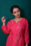 Waves Design Bandhani Kurta on Pure Silk in Pink