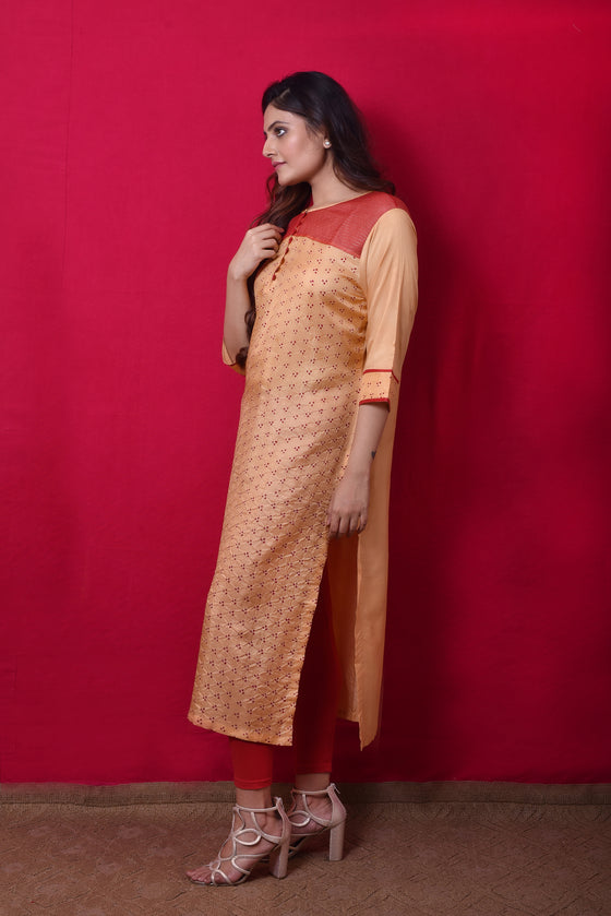 Bandhani Kurta in Cream