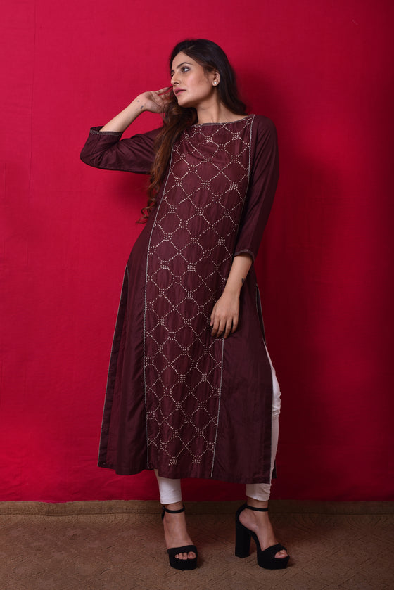 Bandhani Panel Kurta in Brown
